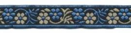 Lint - Bloemen - blauw&zand - 12 mm - 1 meter
