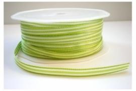 Lint - gestreept - wit&limegroen - 6 mm - 1 meter