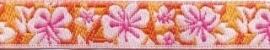 Lint - Bloemen - oranje - 12 mm - 1 meter