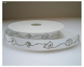 Lint - Baby - wit&taupe - 16 mm - 1 meter