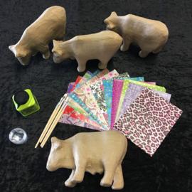 Knutselpakket Decopatch - Kleurrijke Koeien  - 4 / 6 / 10 personen
