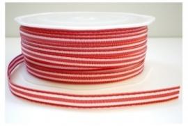 Lint - gestreept - wit&rood - 6 mm - 1 meter