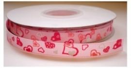 Lint - Hartjes - roze - 10 mm - 1 meter