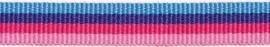 Lint - gestreept - blauw&roze - 10 mm - 1 meter