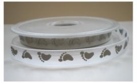 Lint - Baby - voetjes grijs - 10 mm - 1 meter