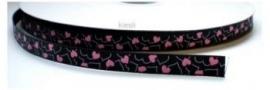 Lint - Hartjes - zwart&roze - 10 mm - 1 meter