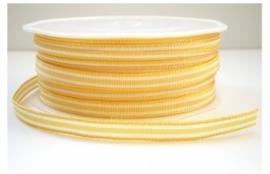 Lint - gestreept - wit&geel - 6 mm - 1 meter