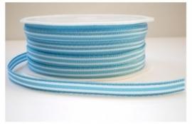 Lint - gestreept - wit&blauw - 6 mm - 1 meter