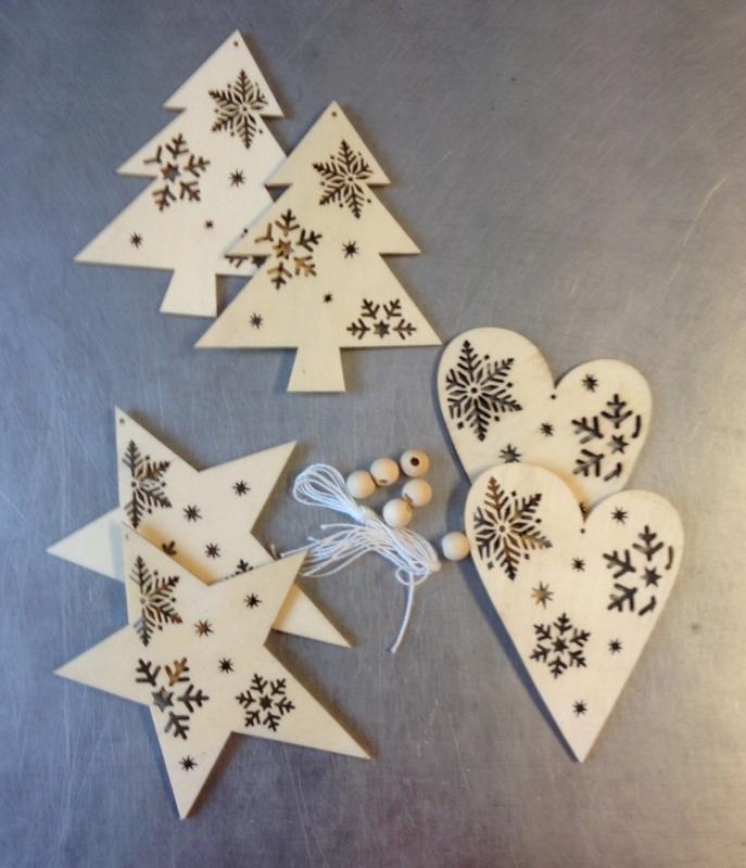 Kerstboom versiering 3 - hout - 6 stuks