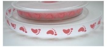 Lint - Baby - voetjes roze - 10 mm - 1 meter
