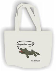 Ecru shopper  Rik Tiktaalik ' Magnesium moet!' Mee bestellen met Poloshirt