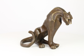Bronzen jaguar beeld abstract
