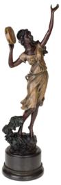 Danseres met tamboerijn brons beeld