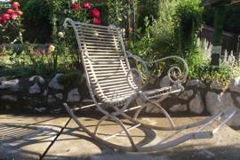 Franse smeedijzeren schommelstoel