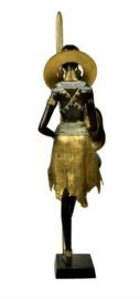 Masai vrouw groot bronzen beeld