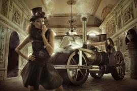 Steampunk foto op glas schilderijen