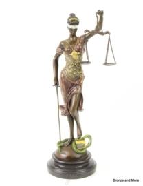 Bronzen vrouwe Justitia in kleur 40 cm