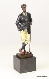 Bronzen golfspeler in kleur beeld
