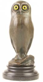 Bronzen uil met gele glazen ogen