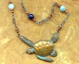 Bronzen zeeschildpad sieraden set