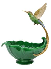 Kolibrie porselein bronzen schaal