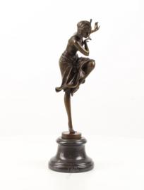 Bronzen Hindoestaanse danseres beeld