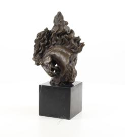 Paardenhoofd bronzen beeld