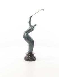 Abstract groen bronzen golfspeler beeld