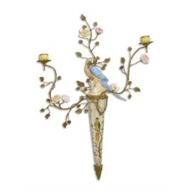 Wandkandelaar vogel porselein brons