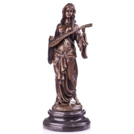 Bronzen vrouw met luit beeld