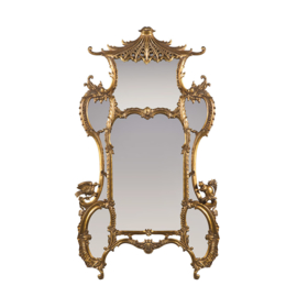 Pagode 8 luik spiegel in gouden lijst