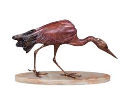 Bronzen reiger heron beeld
