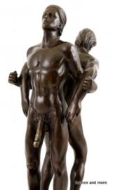 Bronzen naakte homo mannen beeld