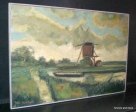 Schilderij met molen Rinus Blomsteel