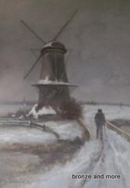Winterlandschap aquarel schilderij