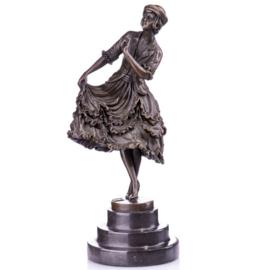 Elegante danseres bronzen beeld