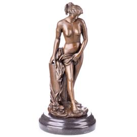 Vrouw halfnaakt bronzen beeld
