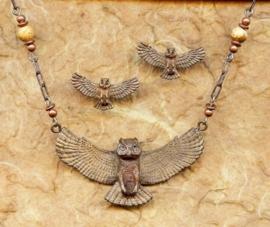 Uil bronzen sieraden set