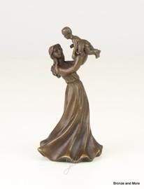Bronzen tafelbel moeder met kind