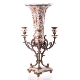 Porselein bronzen kandelaar vaas