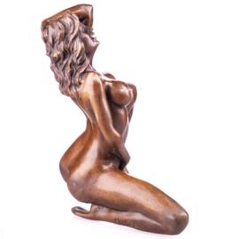 Sexy naakte bronzen vrouw beeld