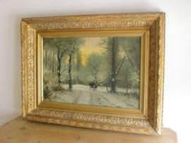 Antiek winterlandschap schilderij