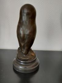 Bronzen Minerva uil met gele ogen