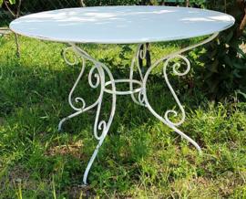Franse smeedijzeren ronde tafel wit