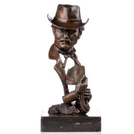 Pokerspeler bronzen beeld