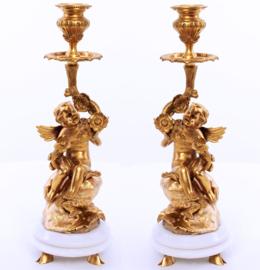 Empire goudbronzen kandelaars CL108