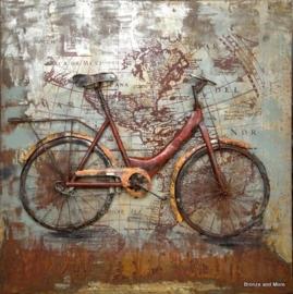 3D metalen fiets schilderij
