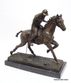 Bronzen polospeler op paard beeld
