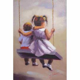 Twee schommelende kinderen schilderij