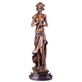 Bronzen vrouw met blokfluit beeld